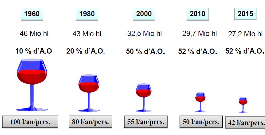 évolution de la consommation de vin en France entre 1960 et 2015