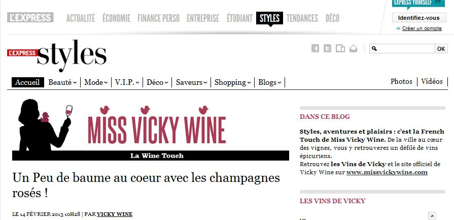 Blog de Miss Vicky Wine sur l'Express Styles