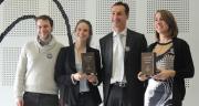 De gauche à droite: Oswald Bernard et Fanny Garret de Vinoga, Christophe Sauvaud président de la Fédération française du liège et Valérie Touraine de Degust&co.