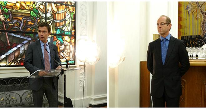 Bernard Farges, président du CIVB et Allan Sichel, vice-président lors de la conférence de rentrée de l'interprofession, le 14 octobre 2014.