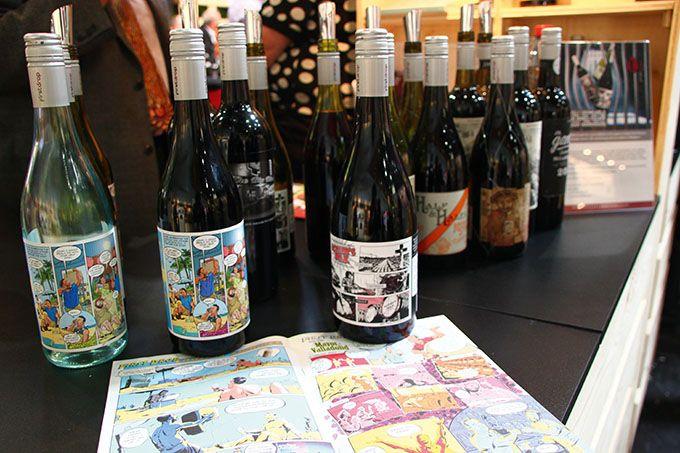 Sans être des effervescents, les vins de First Drop Wine (Australie) font des bulles… Et plus exactement les étiquettes des bouteilles. Photo : T.Quartier