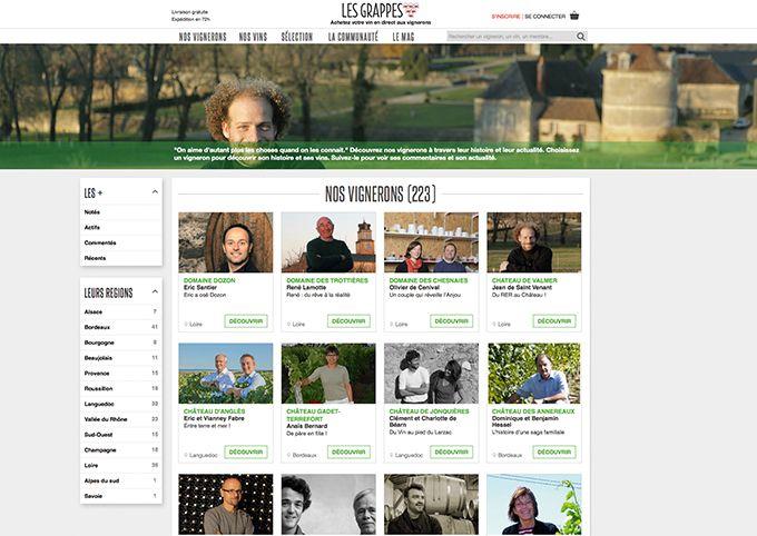 Le site de vente en ligne Les Grappes réunissait lors du Vinisud2016 4000membres, 120vignerons et 500références de vins.