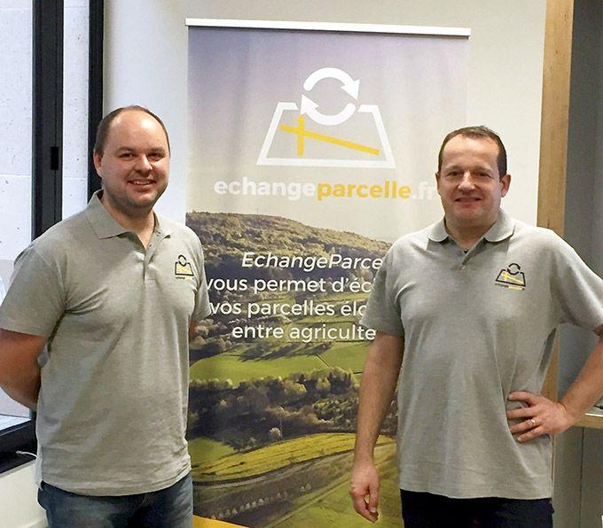 Mickaël Jacquemin, agriculteur dans la Marne et  Vincent Barbier, spécialiste en nouvelles technologies sont  les co-fondateurs d'echangeparcelle.fr. Des parcelles de vigne  à échanger sont déjà référencées sur le site Internet. Photos : DR