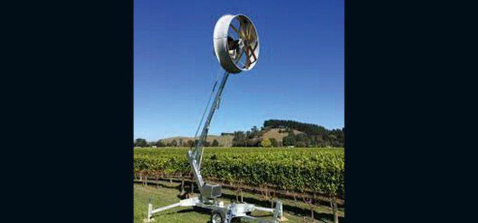 L'éolienne mobile anti-gel protège environ 4ha de vigne.  Photo : DR
