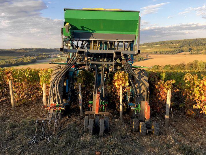 Un semoir agricole  a été adapté pour semer  dans les vignes du Champagne Massin. © T. Massin
