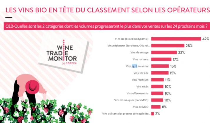 Les vins bio sont ceux dont les ventes sont le plus amenées à progresser dans les deux prochaines années selon le Wine Trade Monitor. Sopexa