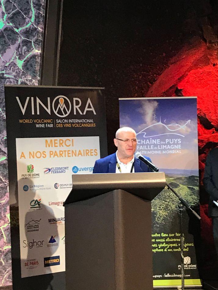 Pierre Desprat, lors de son discours pour le tout premier Salon Vinora en janvier 2020 à Vulcania. Photos: Audrey Domenach, Media et agriculture