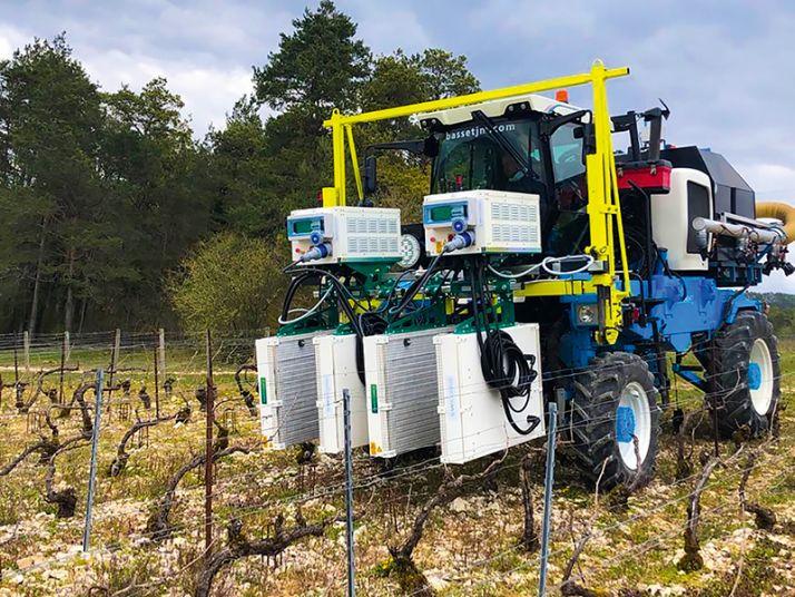 Les premiers essais d'ultraviolets comme stimulants sur le vignoble Champagne Serge Mathieu ont débuté l'an passé.