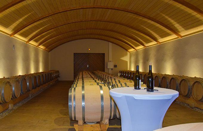 Le domaine de La Denante s'est doté en 2017 d'un nouveau chai «original», dont le plafond voûté en bois rappelle l'intérieur d'un fût. Photo : E.THOMAS/Pixel6TM