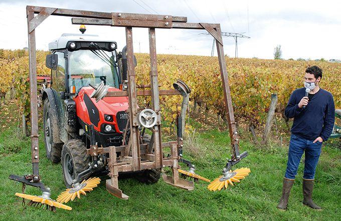Sur le cadre de vieille rogneuse, monté à l'avant du tracteur, Étienne Rideau a adapté des supports pour deux paires de disques Kress, afin de désherber ses plantiers.