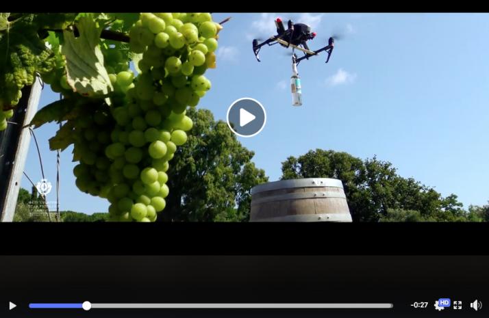 Livraison par drône de vin rosé des Maîtres Vignerons de la presqu'île de saint tropez