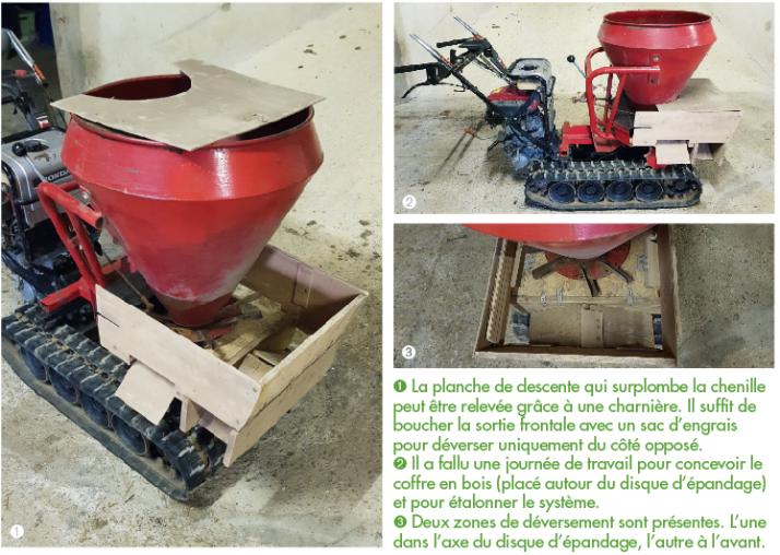 Acquis pour 500euros, le distributeur d'engrais a subi quelques modifications et réglages. © Benoit Munier