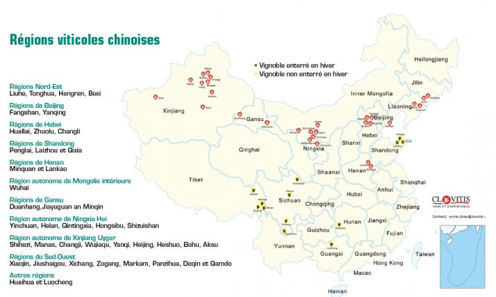 L'entreprise Clovitis  est présente sur différentes zones, et a établi  sa carte du vignoble.