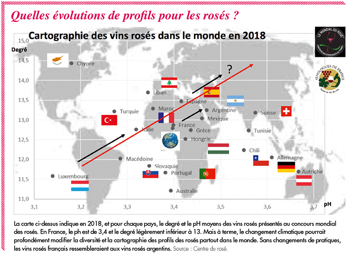Cartographie des vins rosés dans le monde en 2018