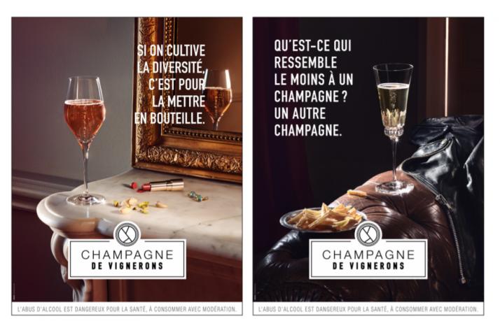 Visuels de la nouvelle campagne de communication du Syndicat des vignerons de Champagne