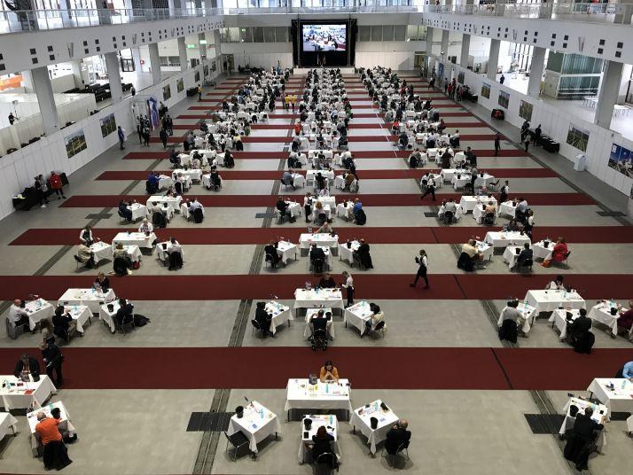 La salle de dégustation du concours mondial de Bruxelles 2020 à Brno en république Tchèque. Credit photo : Audrey Domenach, Media et Agriculture