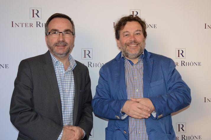 Arnaud Pignol, délégué général d'Inter Rhône et Michel Chapoutier, président de l'interprofession. Photo : M. Gagneux/Pixel-Image