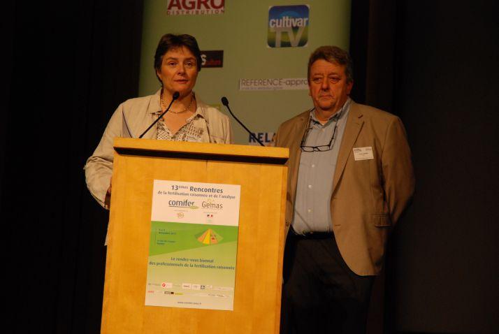 Christine Le Souder d'Arvalis-Institut du Végétal et François Servain du LDAR. Photo O.Lévêque/Pixel Image