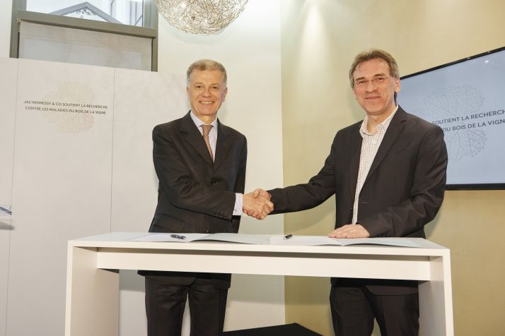 Bernard Peillon, président d'Hennessy (à gauche) officialise la collaboration de la maison avec le projet de recherche mené par Patrice Rey (à droite) sur les maladies du bois de la vigne.