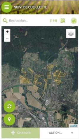 Appli Mobilité Cueillette de iD Systemes : cartograhie de parcelles
