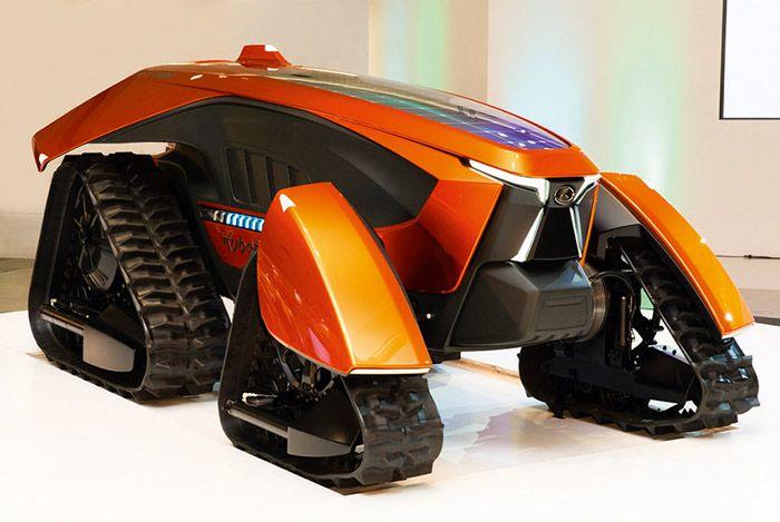 Le tracteur, sans cabine, est capable de se déplacer de manière autonome dans les champs.