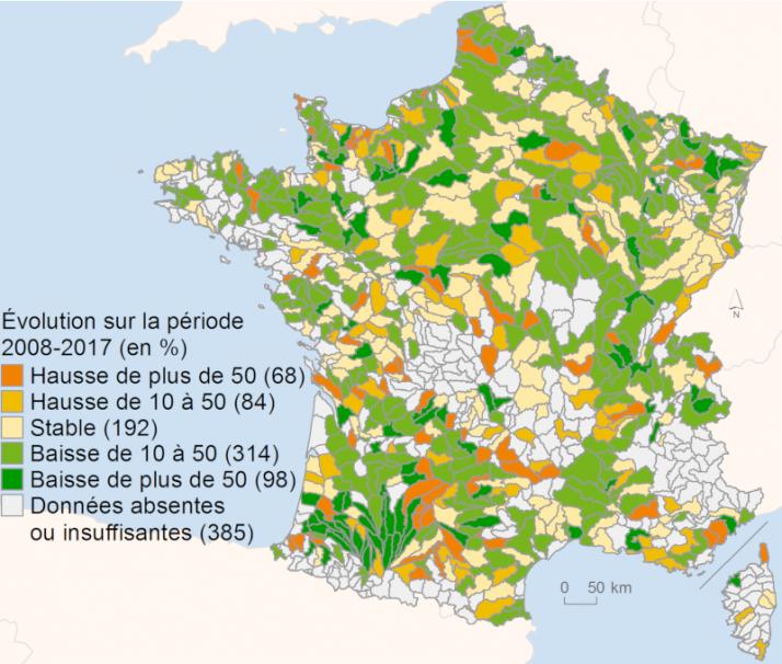 l'IPCE  ou l'indice pesticides dans les cours d'eau s'améliore en France