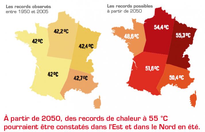 Records de chaleur. Source : Bador et al., 2017