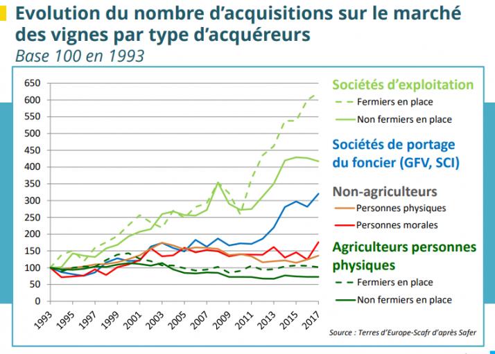 Les acteurs moraux et physiques qui achètent des vignes en France