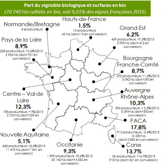 surface de vignes certifiées AB par région en France en 2016 (Agence Bio)
