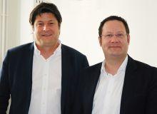 """Marc Bonin (à gauche), et Nicolas Emereau, respectivement président et directeur de la Cave Robert & Marcel, Alliance Loire, et de la nouvelle structure """"Les Vignerons Robert & Marcel"""". Photo : O.Lévêque/Pixel Image."""