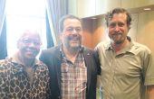 Christopher Barnes avec Dorothy Gaiter, de Grape Collective, et Michel Chapoutier, négociant et vigneron en vallée du Rhône. DR