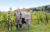 Ève Maurice, accompagnée de son père,  Michel propriétaire du domaine des Béliers jusqu'à 2008,  et de son frère, Alain, ouvrier viticole. © I. Fafet/Pixel Image