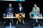 Le symposium sur le changement climatique réunissait de nombreux acteurs du vin, et notamment Laurent Panigaï (au micro), Jonathan Ducourt et Catherine Lepage, directrice de l'interprofession du cognac.